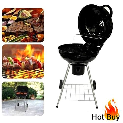 The Home Shoppe 22  Round Portable BBQ Grill (Black)