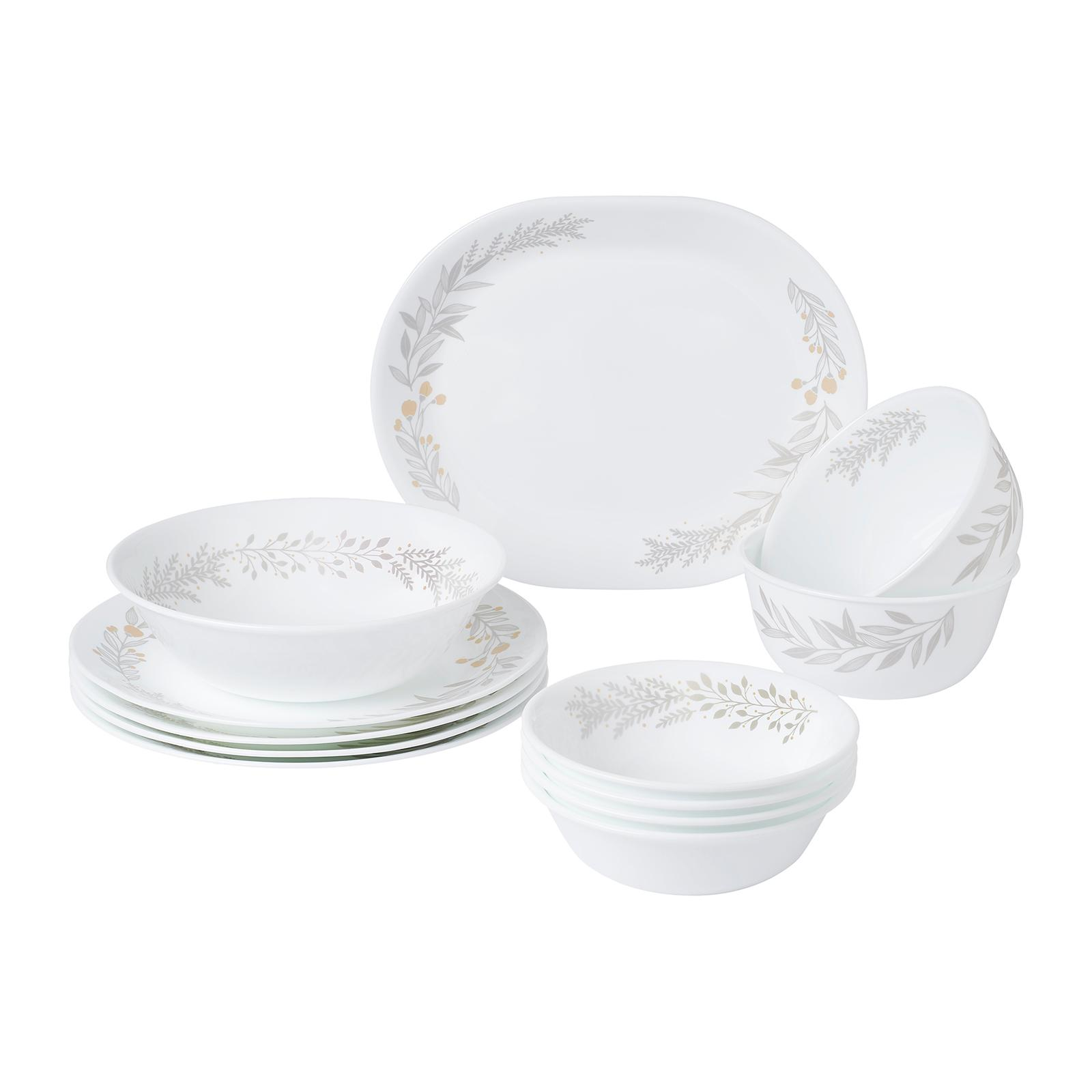 Corelle 12 PCS Dinner Set (Design: Silver Crown)