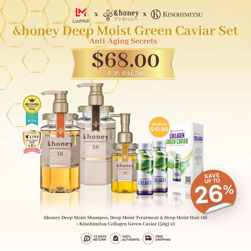 Buy &honey Deep Moist Green Caviar Collagen Set [Shampoo 1.0 + Treatment 2.0 + Hair Oil 3.0 + kinohimitsu Green Caviar] Singapore