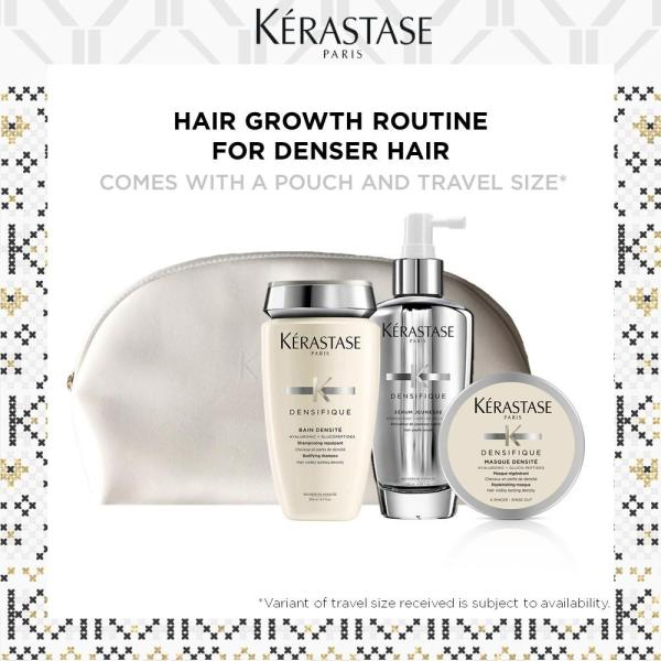 Buy [100% Authentic] Kerastase Densifique Holiday Set - Bain Densite (250ml) + Serum Jeunesse (100ml) + 1 Travel Size (Randomly Packed) + 1 Pouch Singapore