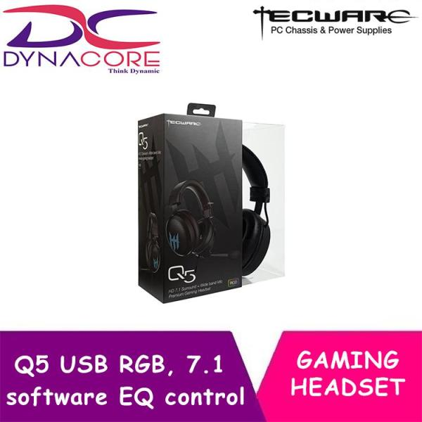 DYNACORE - Tecware Q5 RGB Gaming Headset with Mic, Wired USB 7.1 Surround Sound