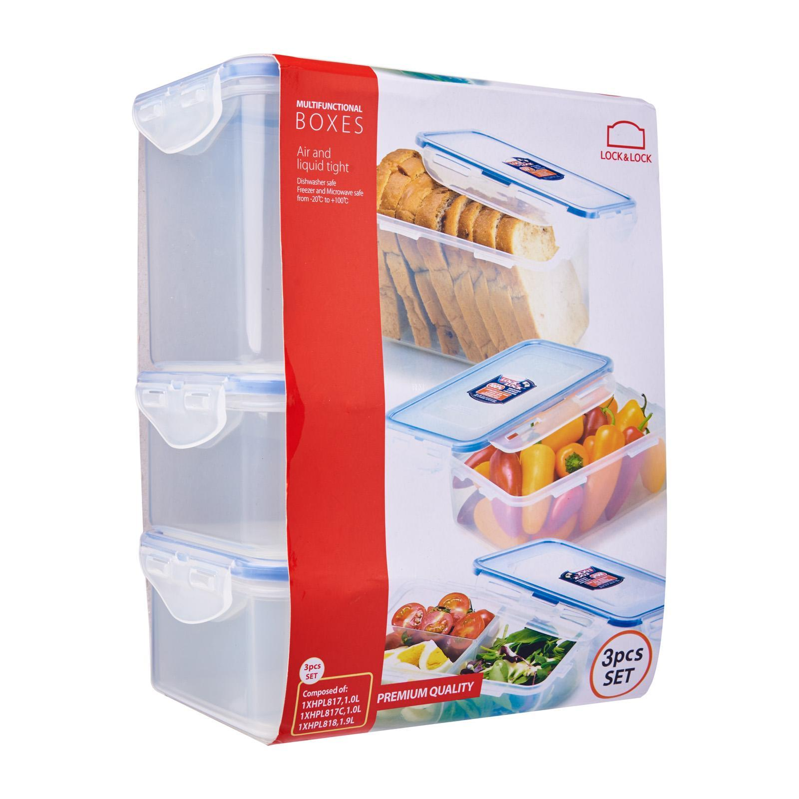 Lock and Lock Classic Food Container 3 Pieces Set (1.0Lx2 / 1.9Lx1)