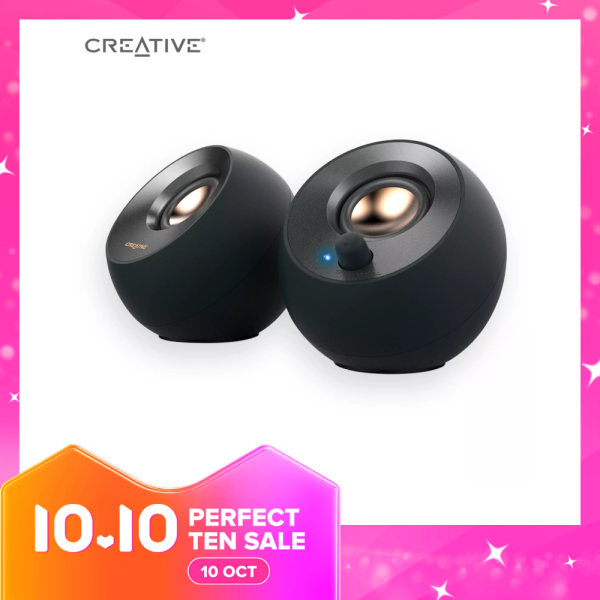 Creative Pebble V2 - Minimalistic 2.0 USB-C Powered Desktop Speakers, 3.5 mm AUX-in, Up to 8W RMS Power for Computers and Laptops, Type-A Adapter Included and Extended Cable