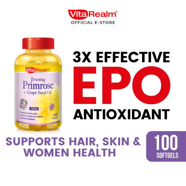 Buy [CLEARANCE SALE] VitaRealm Evening Primrose + 1000mg Grape Seed Oil + Vitamin E Singapore