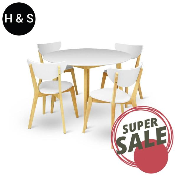 Round Dining Table + 4 Dining Chair. (1+4) Quality Dining Set