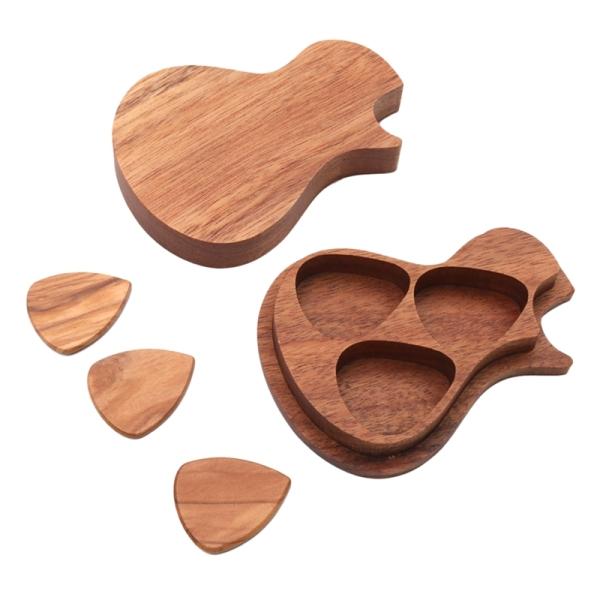 Wooden Guitar Pick Set Plectrum Holder Storage Container Box /3PCS Guitar Picks