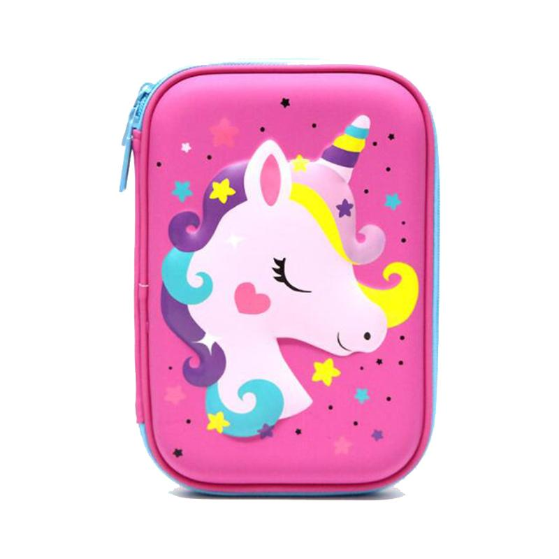 Cute Unicorn Pencil Case For Girls, Kids Pencil Box Holder Pouches For School Office By Pojo Tech.