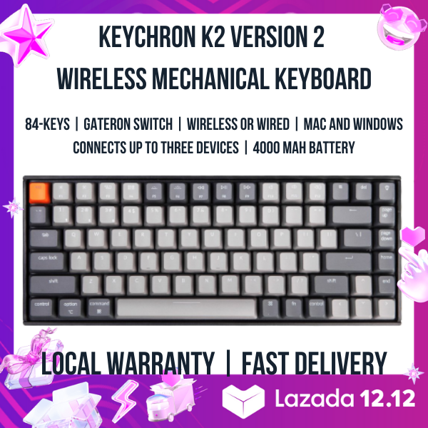 Keychron K2 V2 Wireless Mechanical Keyboard - Suitable for Apple Mac / MBP / iPad, Windows, iPhone and Android