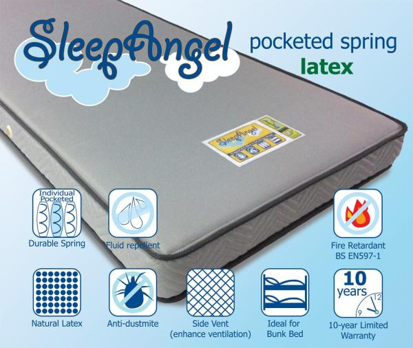 Dreampebble - SleepAngel Pocketed Spring Mattress with Full Natural Latex