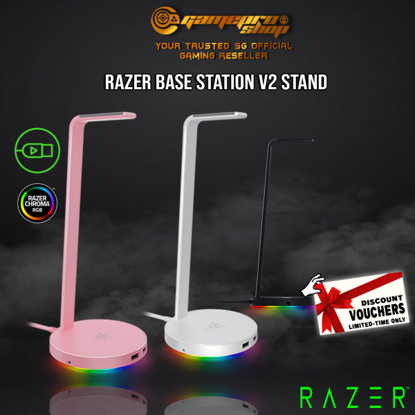 Razer Base Station V2 Chroma - Chroma Enabled Headset Stand with USB 3.1 Hub and 7.1 Surround Sound -(1Y)