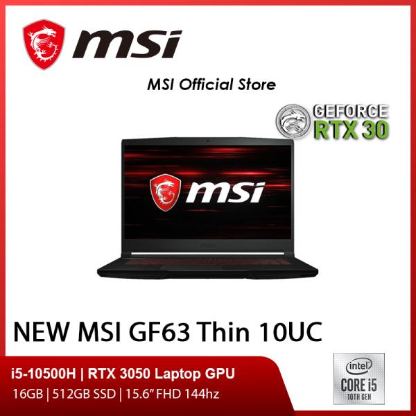 NEW MSI GF63 Thin 10UC-475SG Gaming Laptop (I5-10500H/RTX 3050/15.6 FHD 144hz/W10/2Y)