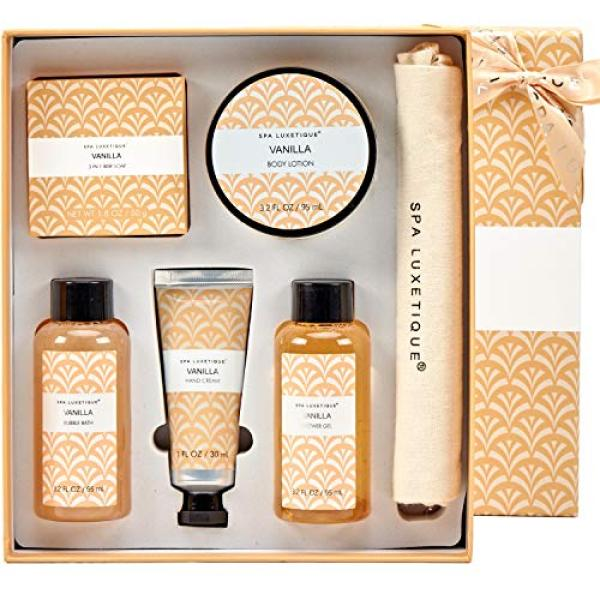 Buy Spa Luxetique Vanilla Spa Gift Set, 6pc Travel Bath Gift Set with Bar Soap, Body Lotion, Shower Gel, Bubble Bath, Hand Cream, Natural Drawstring Linen Burlap Bag. Perfect Birthday Christmas Gift Set. Singapore