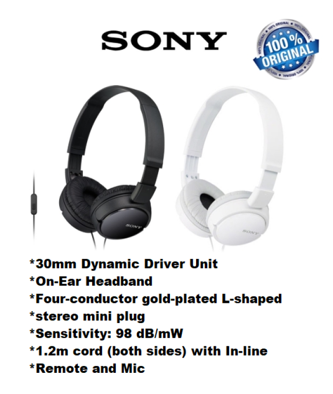 SONY MDR-ZX110AP HEADPHONES WITH MIC BLACK/WHITE Singapore