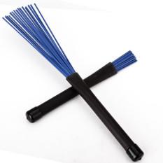 1 Pair Retractable Black Rubber Handles Jazz Drum Brushes Sticks Blue Nylon 32cm