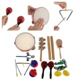 Coupon 16Pcs Lot Musical Instruments Set 10 Kinds Kindergarten Kids Tambourine Drum Percussion Toys For Children Baby Early Education Intl