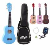 Latest 21 Inch Ukulele Hawaii Four String Guitar Bag Tuner String Pick Wood