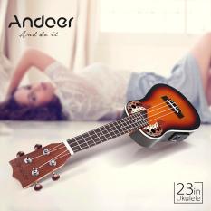 Best Andoer 23 Compact Ukelele Ukulele Hawaiian Red Sunset Glow Spruce Rosewood Fretboard Bridge Concert Stringed Instrument