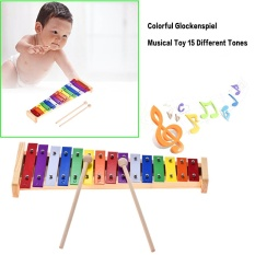 Review Colorful Glockenspiel Xylophone Wooden Aluminum Percussion Musical Instrument Educational Toy 15 Tones With 2 Mallets For Baby Kids Children Intl Not Specified