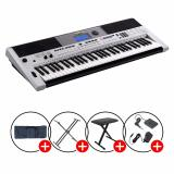 Cheap Full Bundle Yamaha Psr I455 Portable Keyboard Silver With Piano X Stand X Bench Keyboard Bag And Sustain Pedal