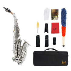 Lade Brass Golden Carve Pattern Bb Bend Althorn Soprano Saxophone Sax Pearl White Shell Buttons Wind Instrument With Case Gloves Cleaning Cloth Belt Brush Export Shop