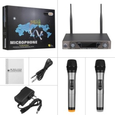 Get Cheap Lcd Dual Channel 2 Mic Professional Handheld Uhf Ktv Wireless Microphone System Intl