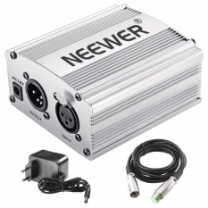 Brand New Neewer 1 Channel 48V Phantom Power Supply Silver Adapter One Xlr Audio Cable For Condenser Microphone Music Us Plug Recording Equipment Intl