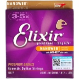 Shop For Original Elixir 16077 Acoustic Guitar Strings Nanoweb Coating Custom Light Medium 012 056 Phosphor Bronze String Intl