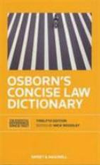 Osborns Concise Law Dictionary (Author: , ISBN: 9780414023208)