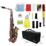 Professional Red Bronze Bend Eb E Flat Alto Saxophone Sax Abalone Shell Key Carve Pattern With Case Gloves Cleaning Cloth Straps Brush Outdoorfree Coupon
