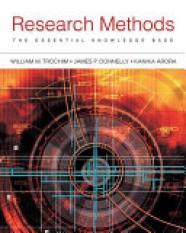 Research Methods (Author: Dr. William Trochim, James Donnelly, Kanika Arora, ISBN: 9781133954774)