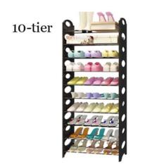 How To Get 10 Tier Stackable Shoes Rack Shoe Rack With Plastic Side Panels