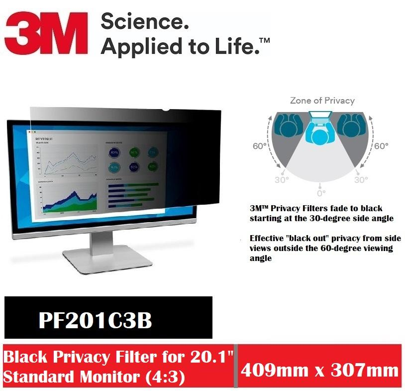 3M Black Privacy Filter For 20.1 Desktop PF201C3B