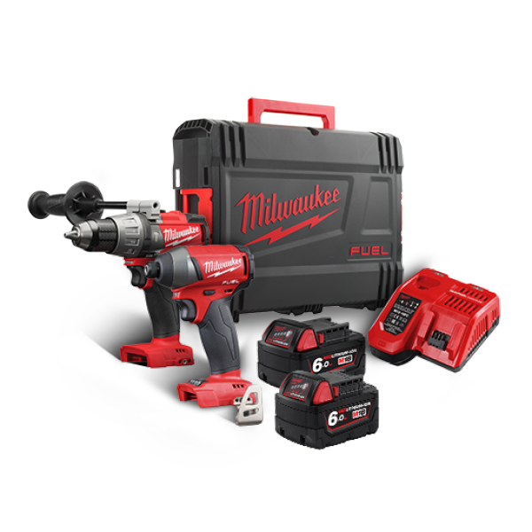 BUY 1 GET 1 FREE: MILWAUKEE M18 FUEL BRUSHLESS 2-Tool Combo Kit - 13mm Hammer Drill Driver and Impact Driver M18FPP2A / M18FPP2A-602X