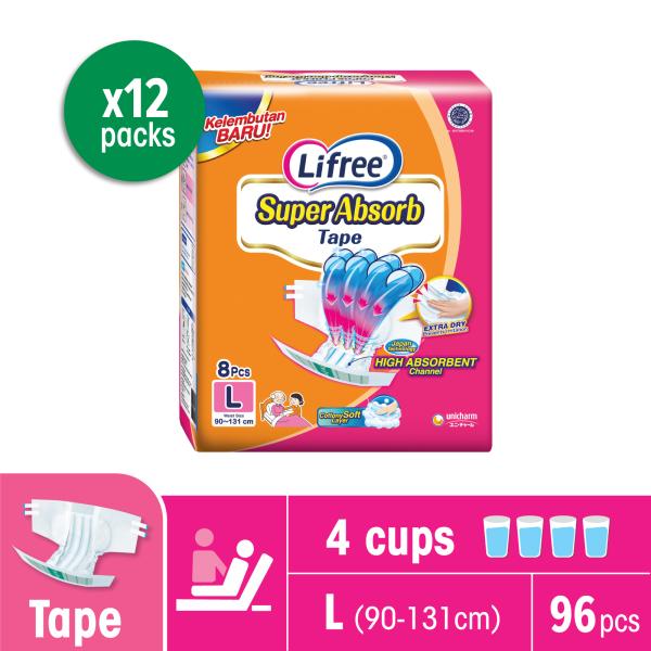 Buy Lifree Super Absorb Tape, L, 8s (12 Packs) Singapore