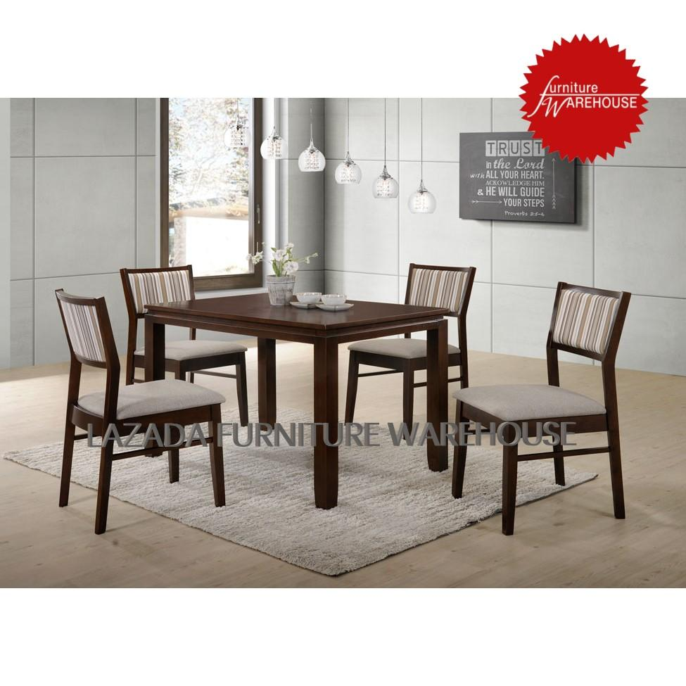 BEST SELLING Akimi Solid Wood Dining Set [ Dining Table With 4 Dining Chair ]