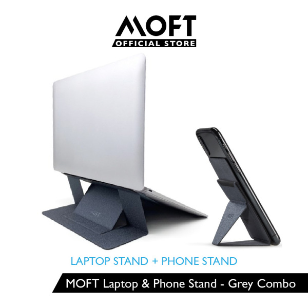 MOFT X Phone Stand + Laptop Stand Gen 2 with Heat Ventilation - Grey Combo