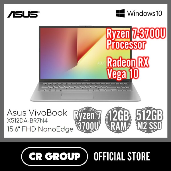 Asus VivoBook  X512DA 15.6 Inch FHD NaNoEdge | AMD Ryzen 7-3700U | 12GB DDR4 RAM | 512GB PCle SSD | Radeon RX Vega 10 Graphics