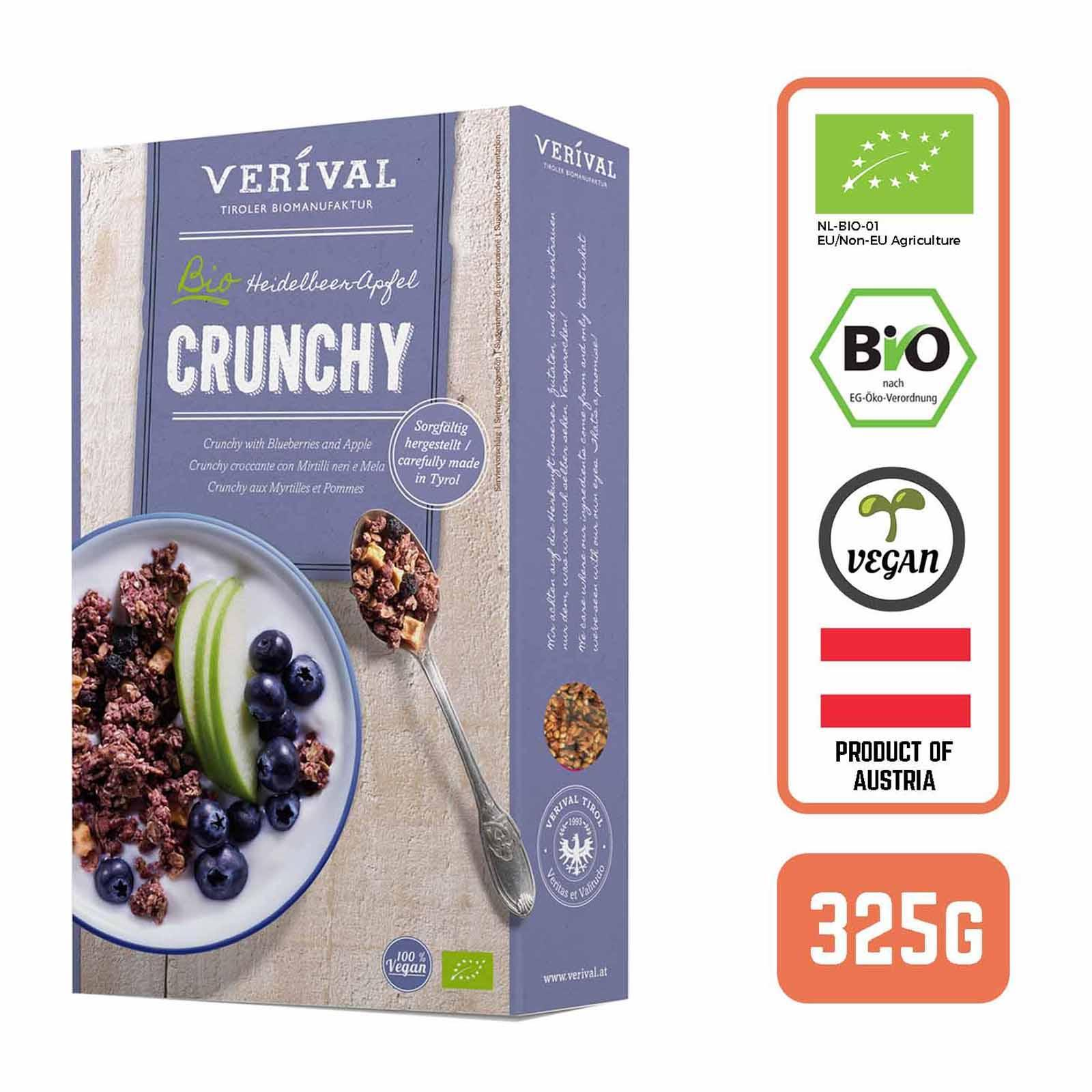 Verival Organic Austrian Crunchy Granola Muesli with Blueberries and Apple