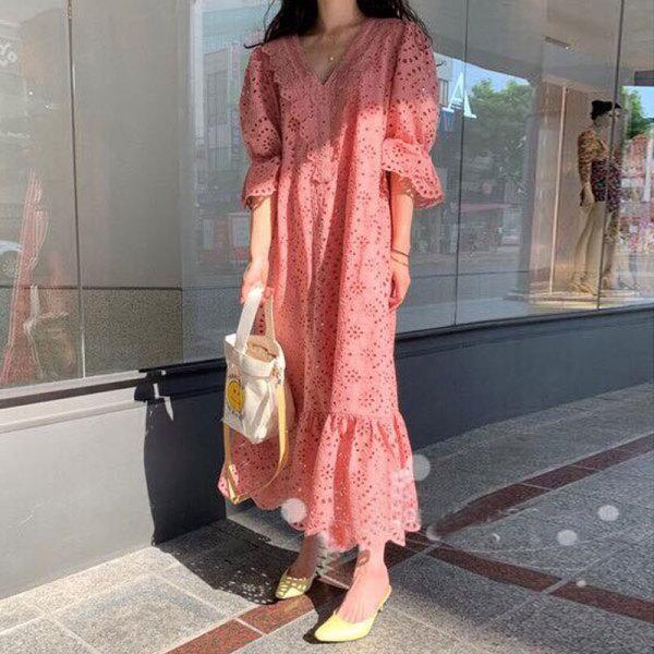 2020 Hàn Quốc Dongdaemun Mẫu Mới Ren Xuyên Thấu Dáng Suông Rộng Đầm Dáng Dài Kiểu Pháp JIEGENG HOME Phong Cách Retro Qua Đầu Gối Váy Dài