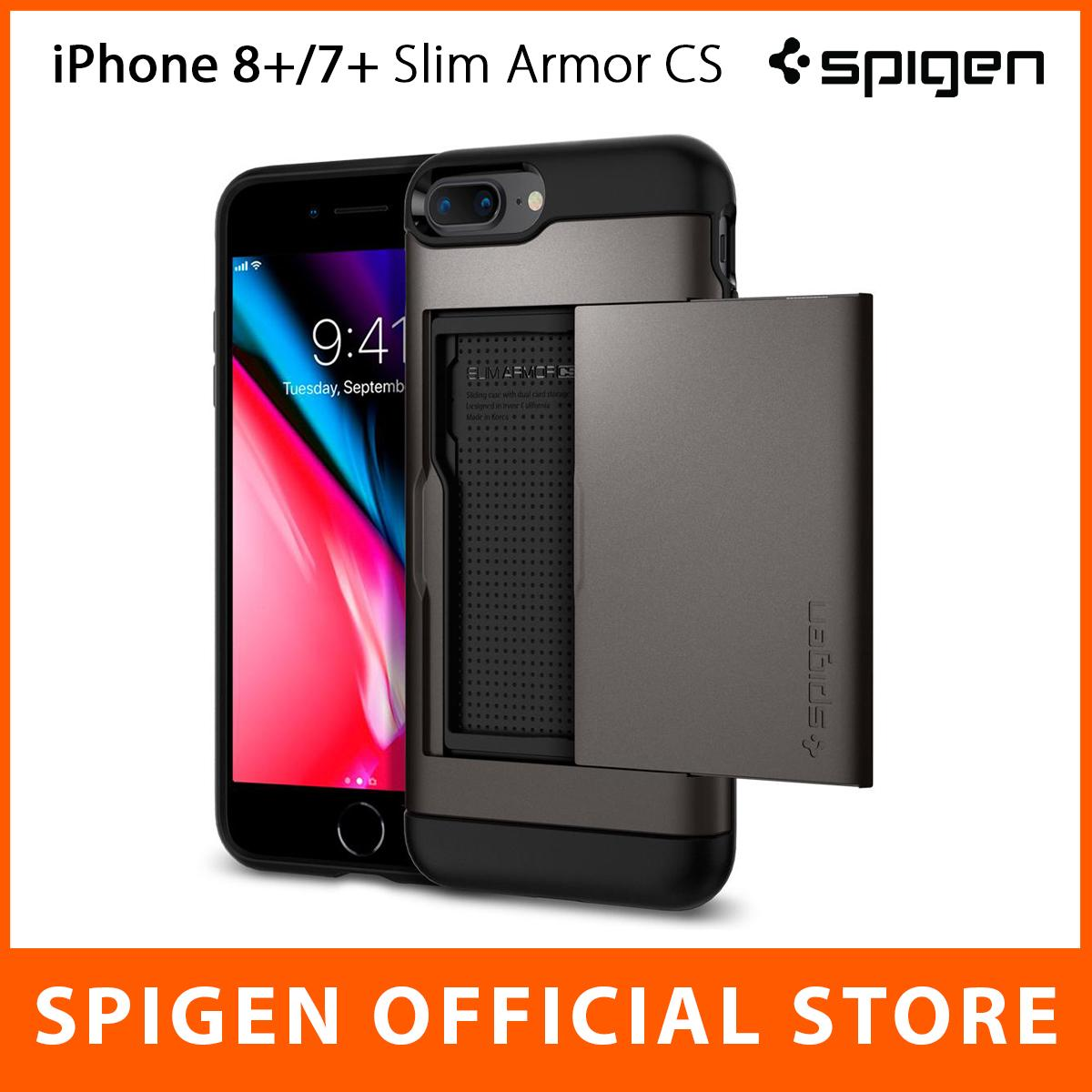 new style 4ad71 c7acc Spigen iPhone 8 Plus Case iPhone 7 Plus Casing Slim Armor CS with Slim Dual  Layer Wallet Design & Card Slot Holder