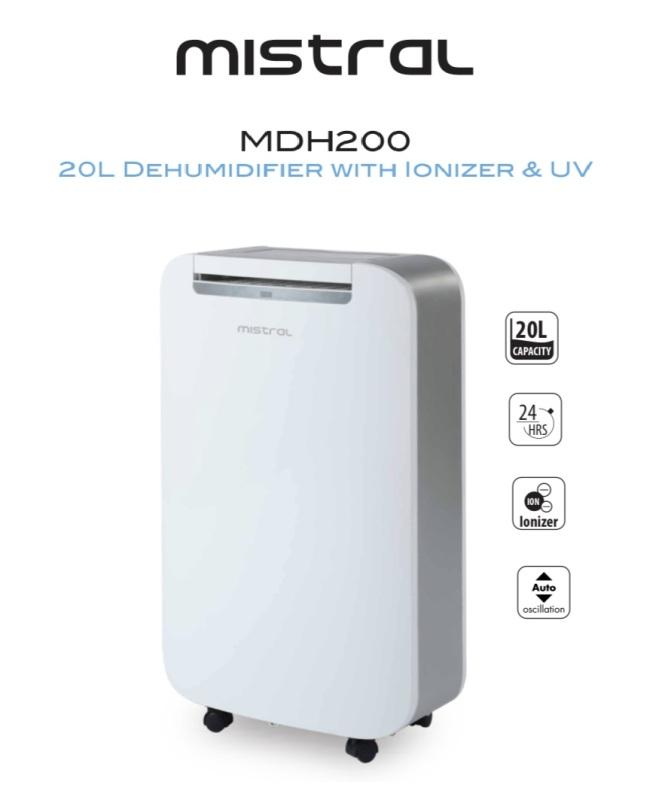 Mistral 20L Dehumidifier with Ionizer & UV (MDH200) Singapore