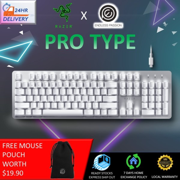 Razer Pro Type: Wireless Mechanical Productivity Keyboard - Razer Orange Mechanical Switches - Fully Programmable Keys - Bluetooth and Wireless Connectivity - Durable for Up to 80 Million Keystrokes [24 Hours Delivery] Singapore