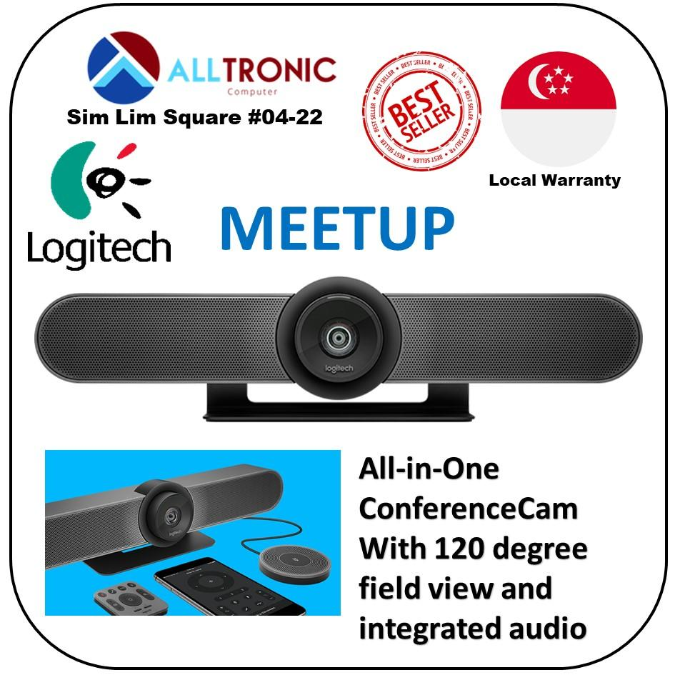 Logitech Meetup 4K Conference Camera (All-in -One ConferenceCam with 120 degree field of view and integrated Audio) Skype for Business certified/Microsoft Cortana® certified/ Cisco Jabber® and WebEx compatible / 2Yrs Warranty/Singapore Authorised Reseller