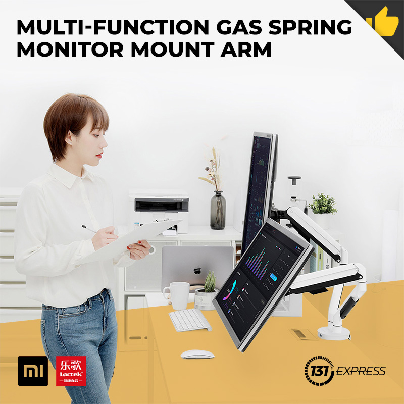 "Xiaomi Loctek Multi-Function Gas Spring Monitor Mount Arm [ Bracket, 360° Rotate, Vertical Hover, Adjustable Tilt, Dual USB Port, Aluminium Material, Anti-Rust, Durable, Easy Install, For 17"" To 32"" Display, 9kg Bearing, Office, Computer Accessory ]"