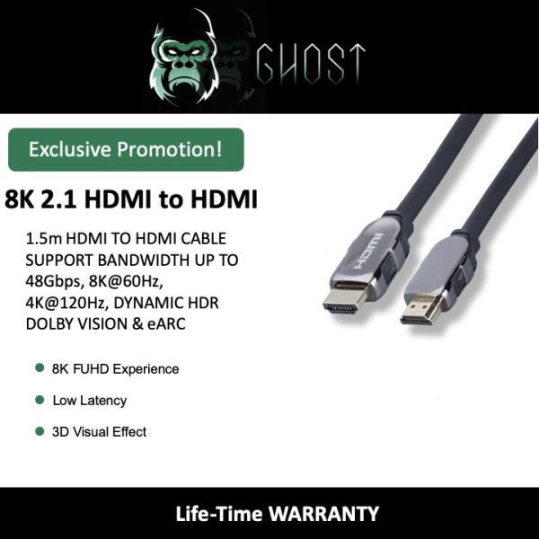 GHOST 1.50 meter: 8K HDMI 2.1 to HDMI 2.1 cable support bandwidth up to 48Gbps, 8Kat60Hz, 4Kat120Hz, Dynamic HDR Dolby Vision and eARC