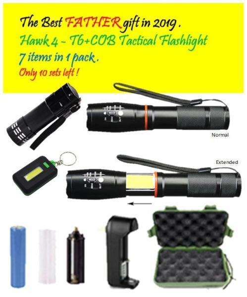 Hawk 4 , New Huge LED T6+COB Tactical Flashlight