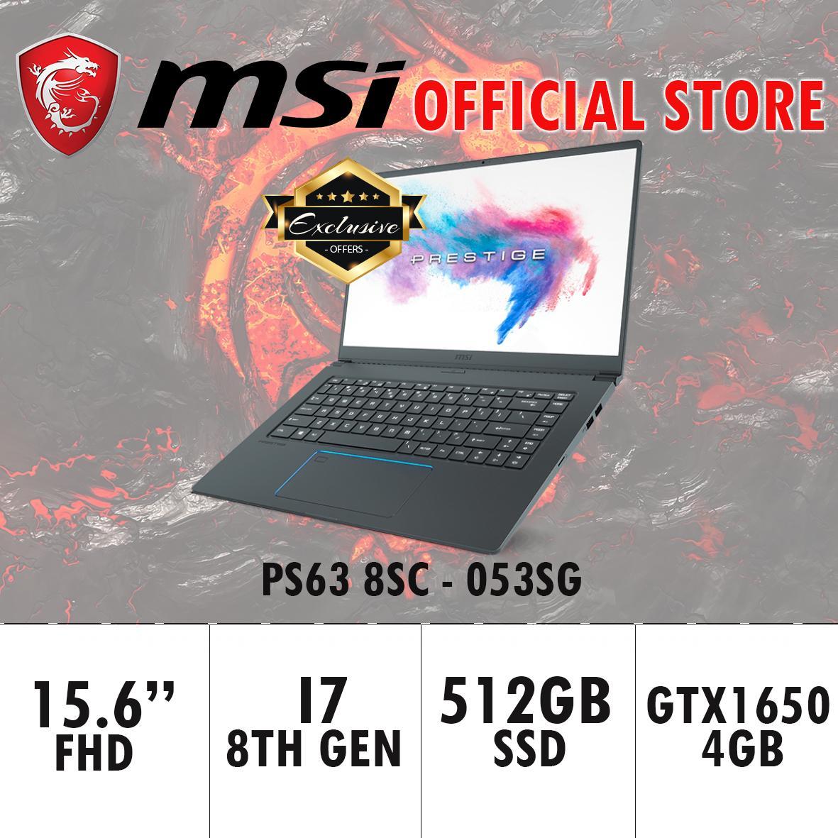 MSI PS63 GTX1650 8SC – 053SG EXCLUSIVE (i7-8565U / 16GB / 512GB SSD / WIN 10) 15.6 FHD Gaming Laptop