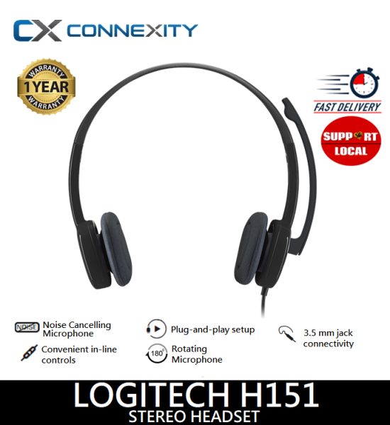 [LOCAL WARRANTY] Logitech H151 Stereo Headset l Logitech headset with Microphone l Logitech H151 l Logitech Wired Headset l Logitech Headset l H151 l Logitech Headset H151 l Wired headphones Logitech l Logitech Headset with Microphone H151 Singapore