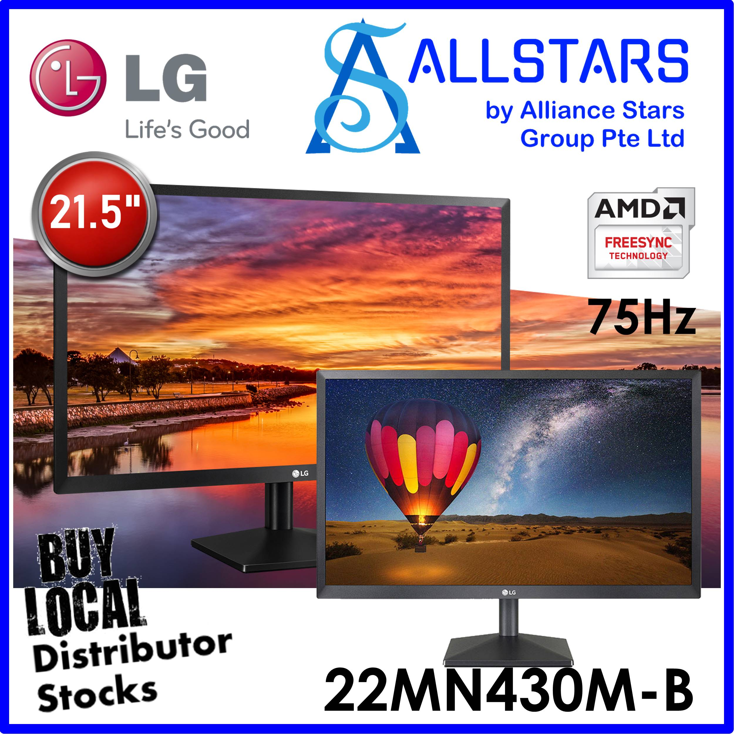 (allstars : We Are Back / Display Promo) Lg 21.5 Inch 22mn430m-B Full Hd Ips Monitor / 75hz / Freesync / Hdmi X2 + Vga / Vesa Mount Compatible 75x75mm (warranty 3years With Lg Sg).