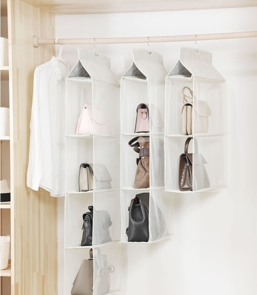 【1 or 2 sets】Detachable Hanging Closet Organizer for Clothes Storage Bags/Shoes, 4 Shelf Hanging Handbag Collection Storage Holder,Now woven Cloth Space Saving Organizers System For Living Room Bedroom ( Color to be selected by seller)